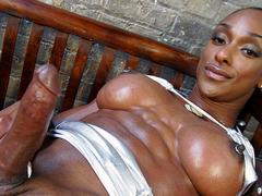 Sexy black diva Natalia stroking off her rod iron cock