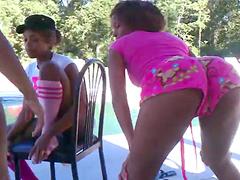 Three little young ebony girlfriends dancing everywhere.